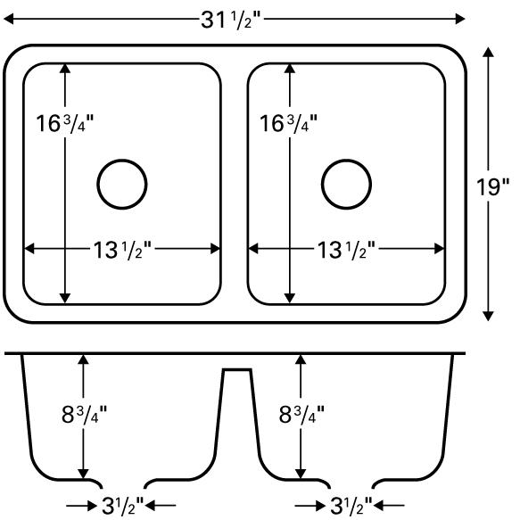 "Karran NEWB, Newport 31-5/8"" x 19"" Acrylic Kitchen Sinks, Undermount Double Equal Bowls, Bisque :: Image 20"