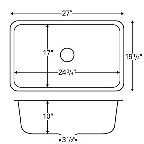 "Karran NOVW, Nova 27"" x 19-1/4"" Acrylic Kitchen Sink, Undermount Large Single Bowl, White :: Image 20"