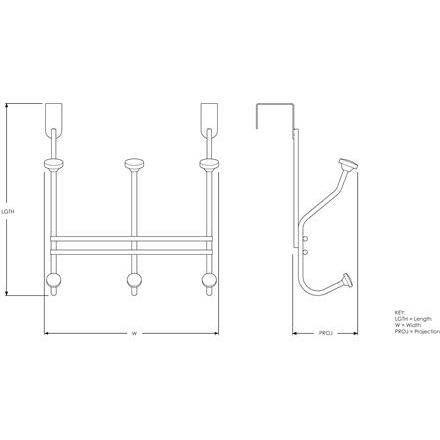 Amerock H55548S, Over-The-Door Hook, Transitional Series, 6-Prong-5-1/2 Proj, 7 H, Silver  ::Drawing #20
