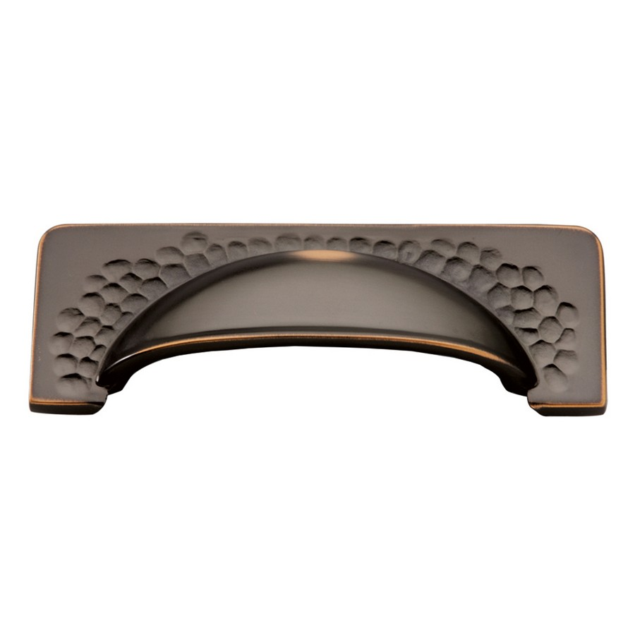 Craftsman Cup Pull 96mm Center to Center Oil Rubbed Bronze Highlighted Hickory Hardware P2174-OBH