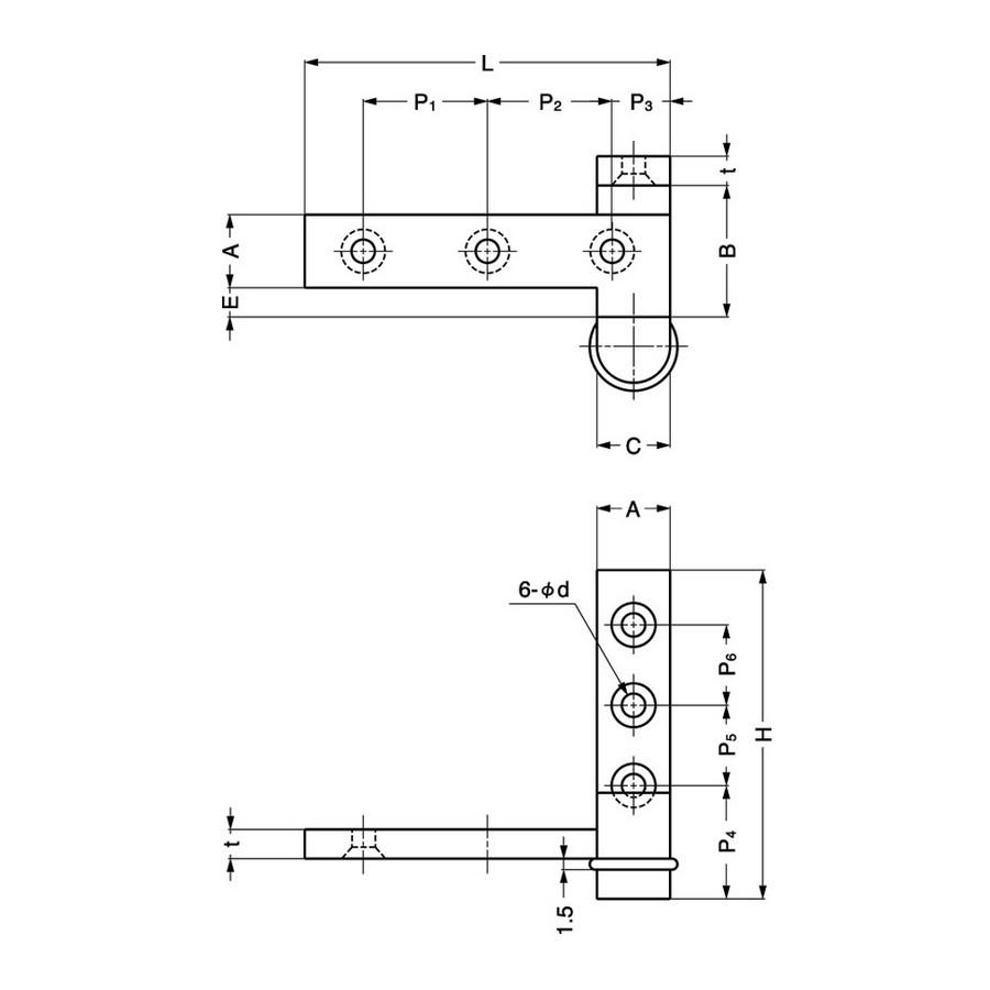 "Overlay Pivot Door Hinge 2"" L Nickel Sugatsune PAS-50 Line Drawing"