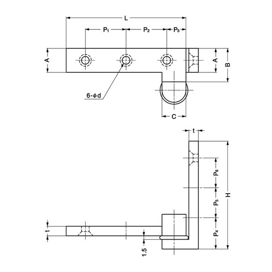 "Inset Pivot Door Hinge 2-3/8"" L Nickel Sugatsune PAW-60 Line Drawing"
