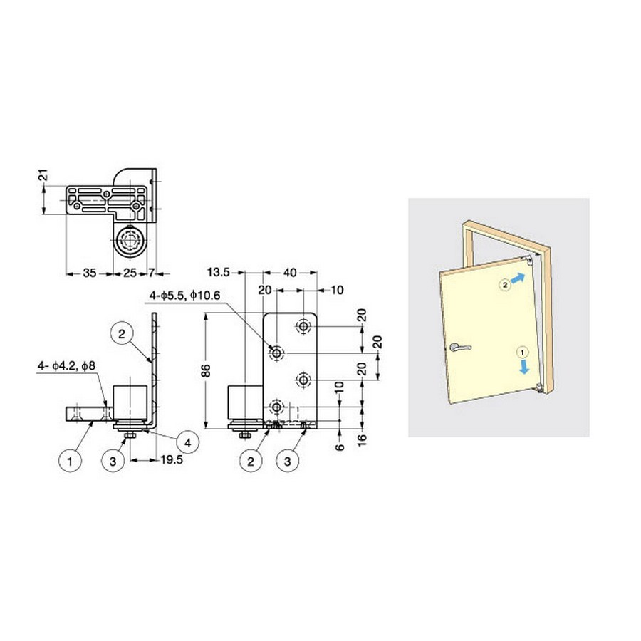 Pivot Hinge For Wood Doors Silver Sugatsune PH-01 Line Drawing