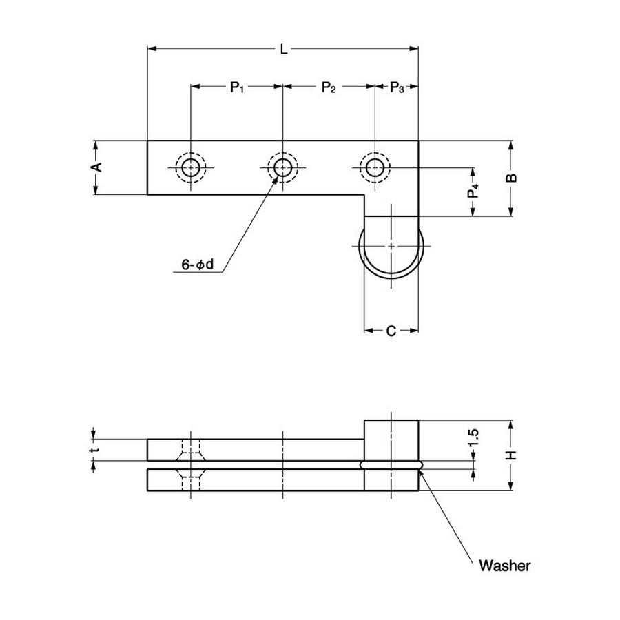 "Inset Pivot Door Hinge 2"" L Nickel Sugatsune PH-50 Line Drawing"