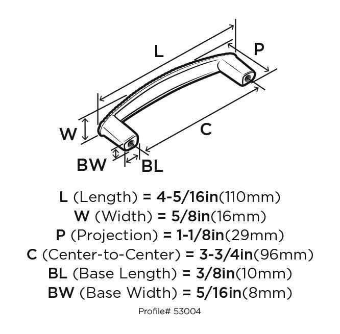 Amerock BP53004-FB Design Handle, 3-3/4 (96mm) Centers, Flat Black, Allison Series :: Image 20