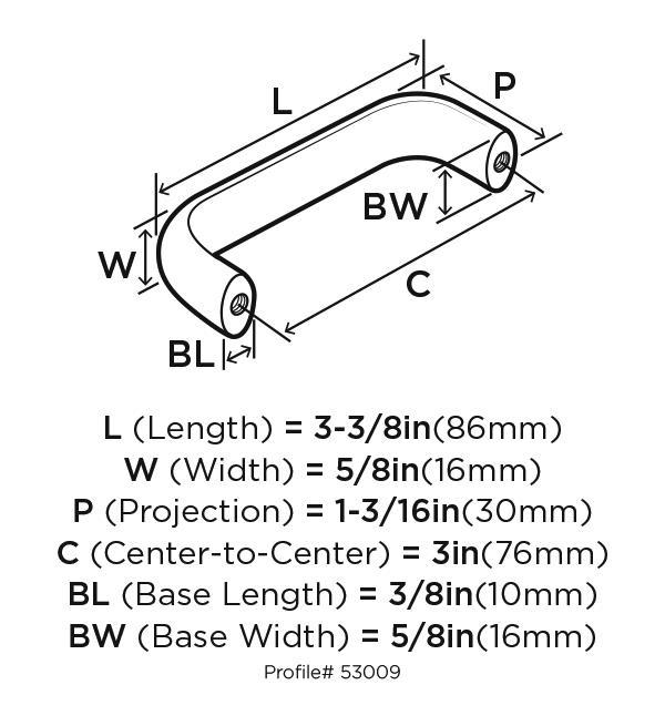 Amerock BP53009-FB Plain Handles & Pulls, Centers 3in, Flat Black, Allison Series :: Image 20