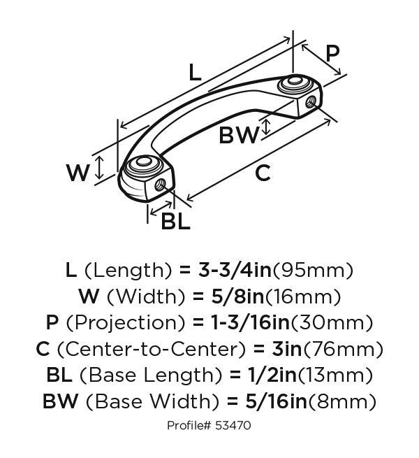 Amerock BP53470-WN Design Handle, Centers 3in, Weathered Nickel, Allison Series :: Image 20
