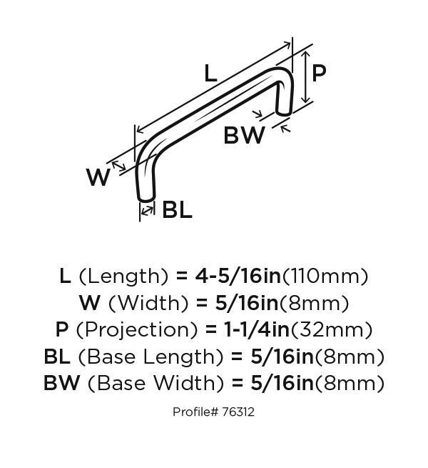 Amerock BP76312-26 Plain Handle, Centers 4in, Polished Chrome, Allison Series :: Image 10