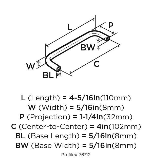 Amerock BP76312-26 Plain Handle, Centers 4in, Polished Chrome, Allison Series :: Image 20