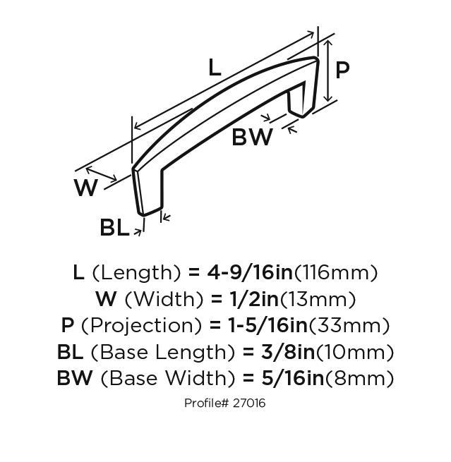 Amerock BP27016-AA Modern Handle, Centers 3-3/4 (96mm), Anodized Aluminum, Creased Bow :: Image 10