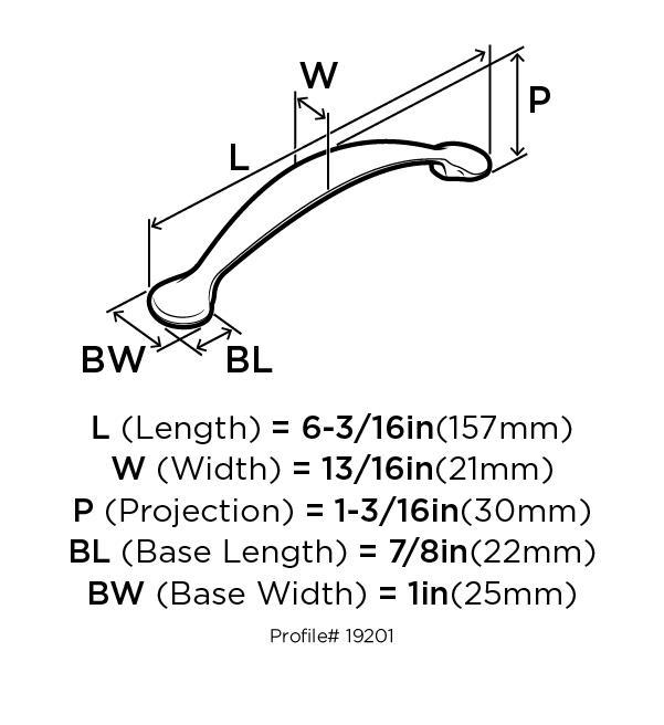 Amerock BP19201-G10 Footed Handle, Centers 5in, Satin Nickel, Essential :: Image 10