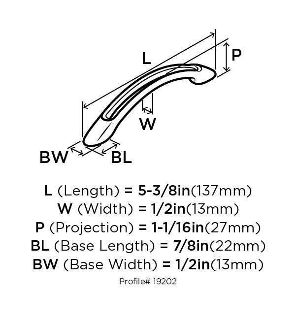 Amerock BP19202-G10 Bow Handle, Centers 3-3/4 (96mm), Satin Nickel, Essential :: Image 10