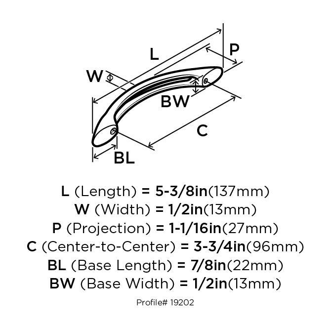 Amerock BP19202-G10 Bow Handle, Centers 3-3/4 (96mm), Satin Nickel, Essential :: Image 20
