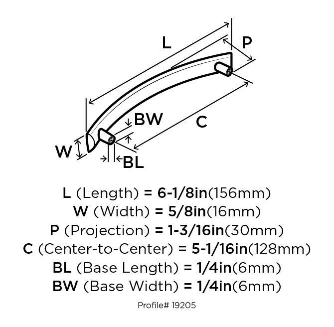 Amerock BP19205-WN Modern Handle, Centers 5in (128mm), Weathered Nickel, Essential :: Image 20
