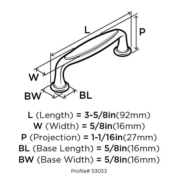Amerock BP53033-R3 Modern Handle, Centers 3in, Rustic Brass, Mulholland :: Image 10