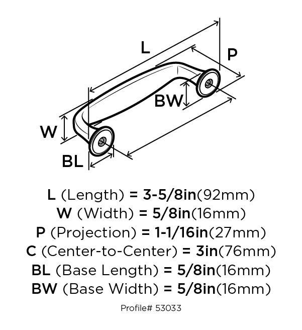 Amerock BP53033-WN Modern Handle, Centers 3in, Weathered Nickel, Mulholland :: Image 20