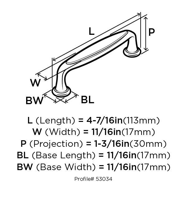 Amerock BP53034-WN Modern Handle, Centers 3-3/4 (96mm), Weathered Nickel, Mulholland :: Image 10