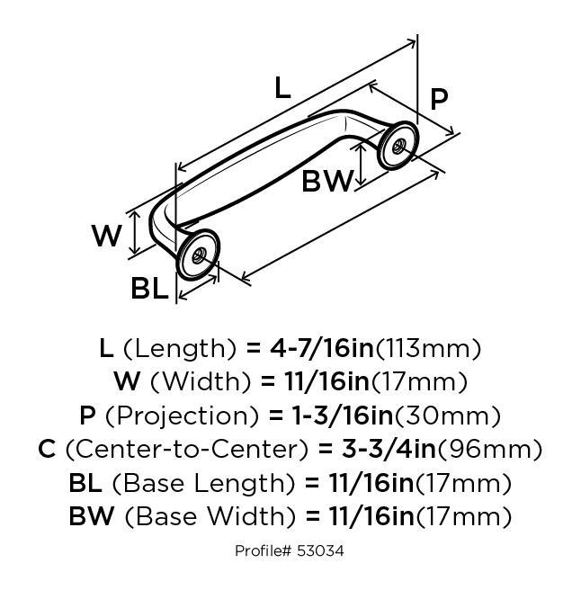 Amerock BP53034-WN Modern Handle, Centers 3-3/4 (96mm), Weathered Nickel, Mulholland :: Image 20