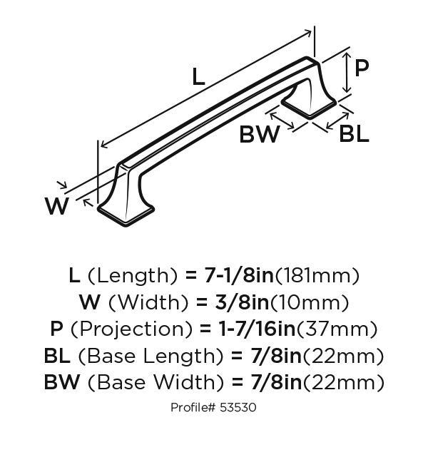 "Amerock BP53530VB, Venetian Bronze 7-1/6"" Pull, Zinc Die Cast, Centers 160mm :: Image 10"
