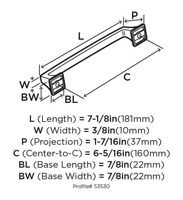 "Amerock BP53530VB, Venetian Bronze 7-1/6"" Pull, Zinc Die Cast, Centers 160mm :: Image 20"