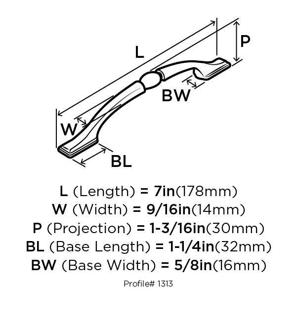 "Amerock BP1313ORB, Oil Rubbed Bronze 7"" Pull, Zinc Die Cast, Centers 128mm :: Image 10"