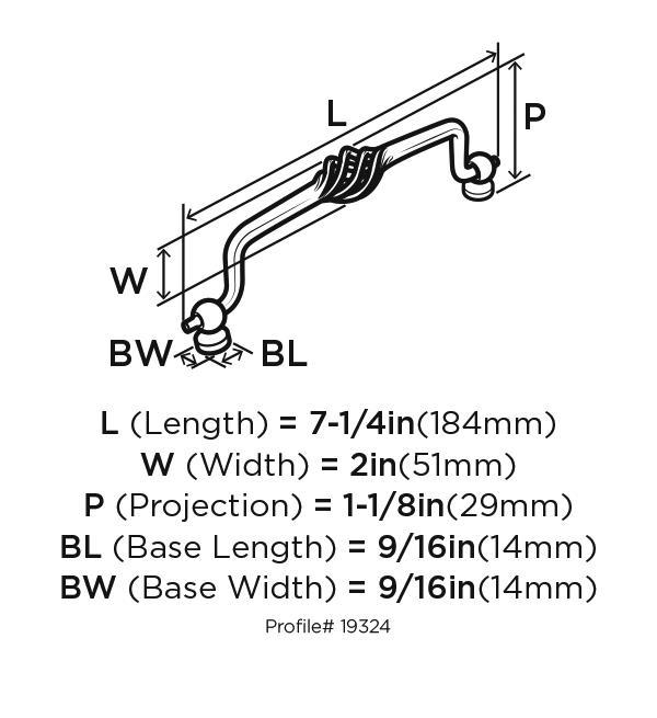 Amerock BP19324-WN Birdcage Handle, Centers 6-1/4 (160mm), Weathered Nickel, Village Classics :: Image 10