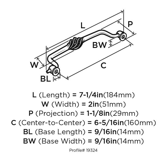 Amerock BP19324-WN Birdcage Handle, Centers 6-1/4 (160mm), Weathered Nickel, Village Classics :: Image 20