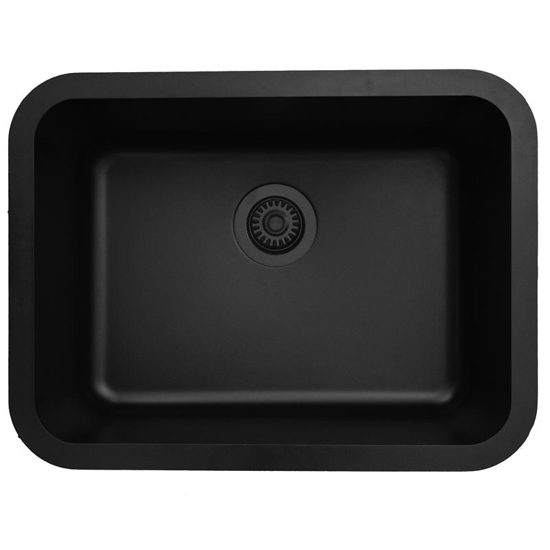 "Karran Q320BLACK, 24-1/4"" x 18-1/4"" Quartz Undermount Kitchen Sink Single Bowl, Black :: Image 10"
