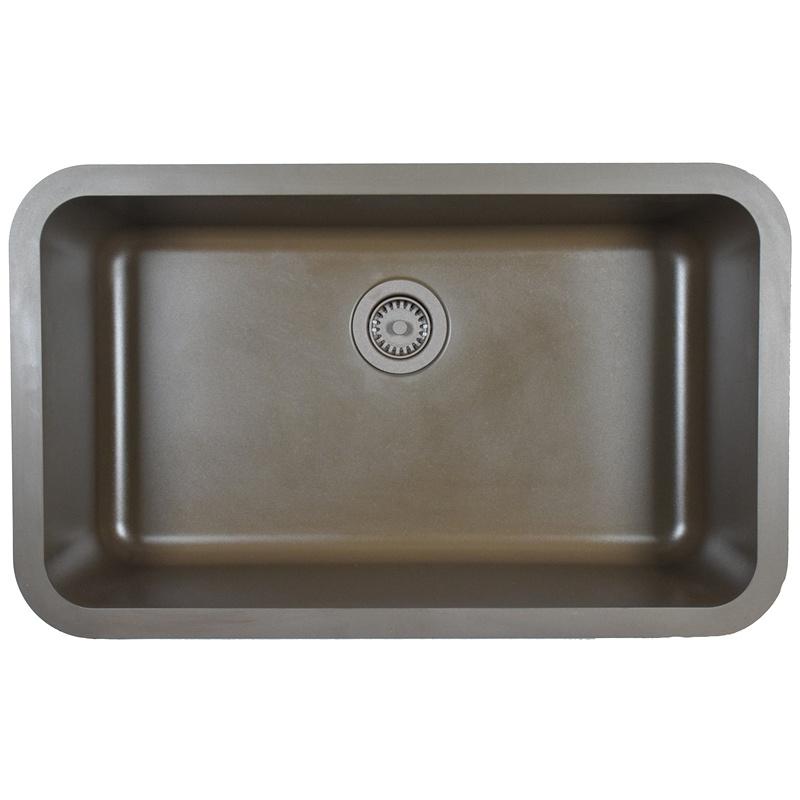 "Karran Q340BROWN,  30-7/8"" x 18-7/8"" Quartz Undermount Kitchen Sink Extra Large Single Bowl, Brown :: Image 10"