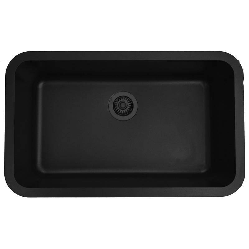 "Karran Q340BLACK,  30-7/8"" x 18-7/8"" Quartz Undermount Kitchen Sink Extra Large Single Bowl, Black :: Image 10"
