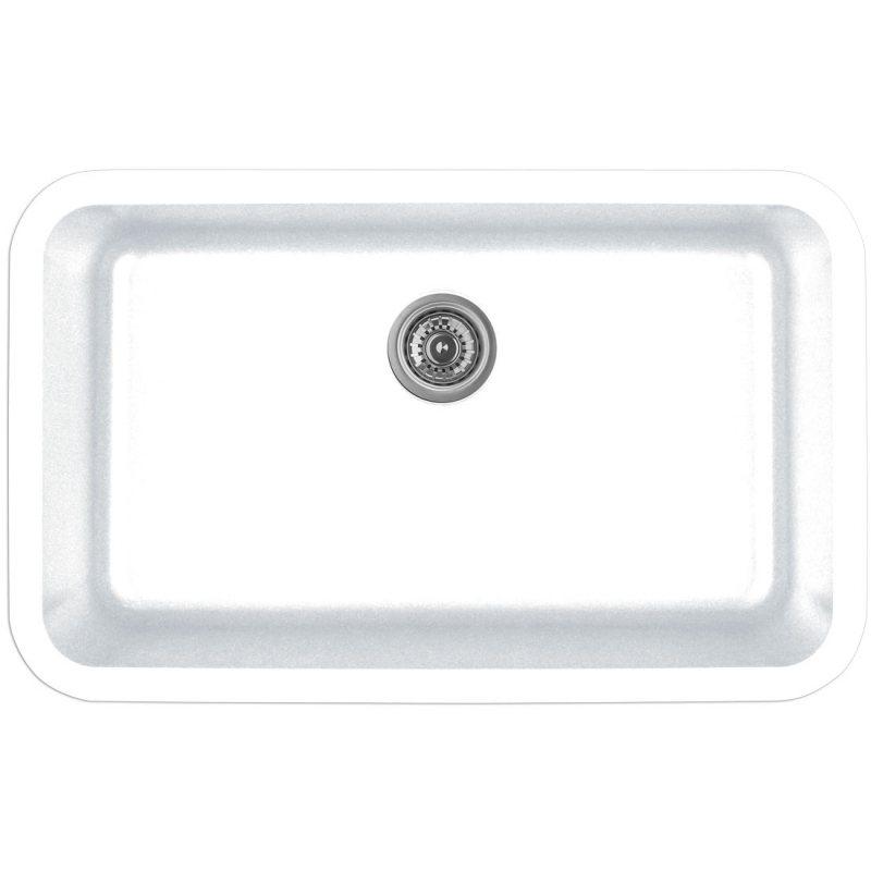 """Karran Q340WHITE, 30-7/8"""" x 18-7/8"""" Quartz Undermount Kitchen Sink Extra Large Single Bowl, White :: Image 10"""