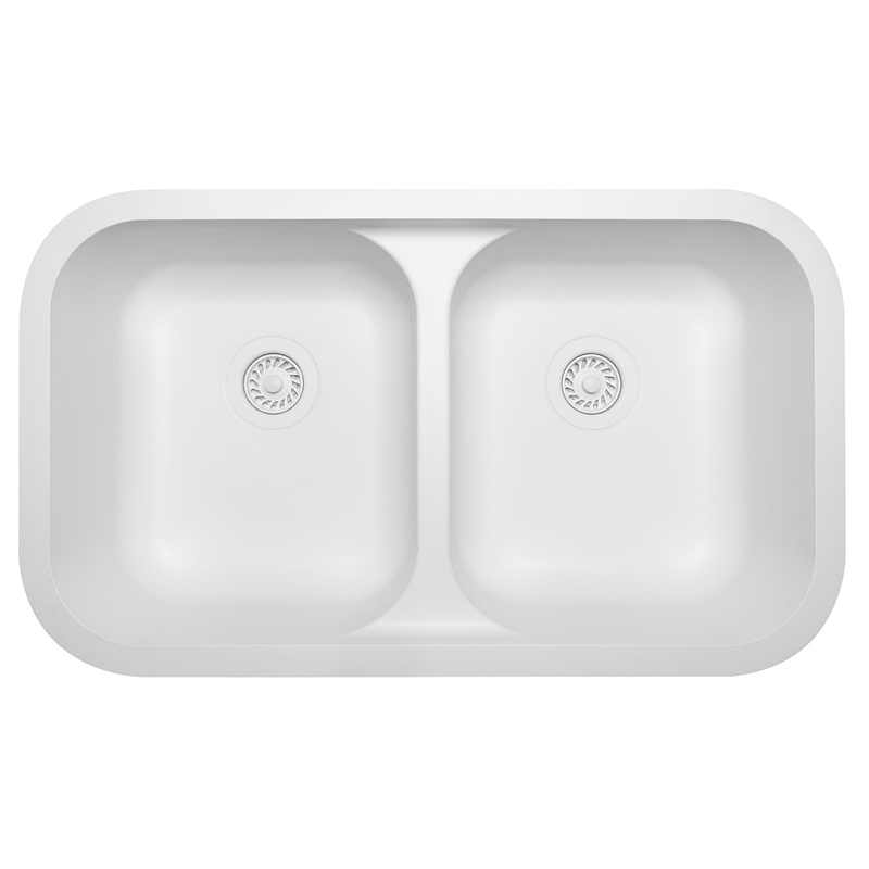 "Karran Q350WH, 32-3/8"" x 19"" Quartz Undermount Kitchen Sink Double Equal Bowls, White :: Image 10"