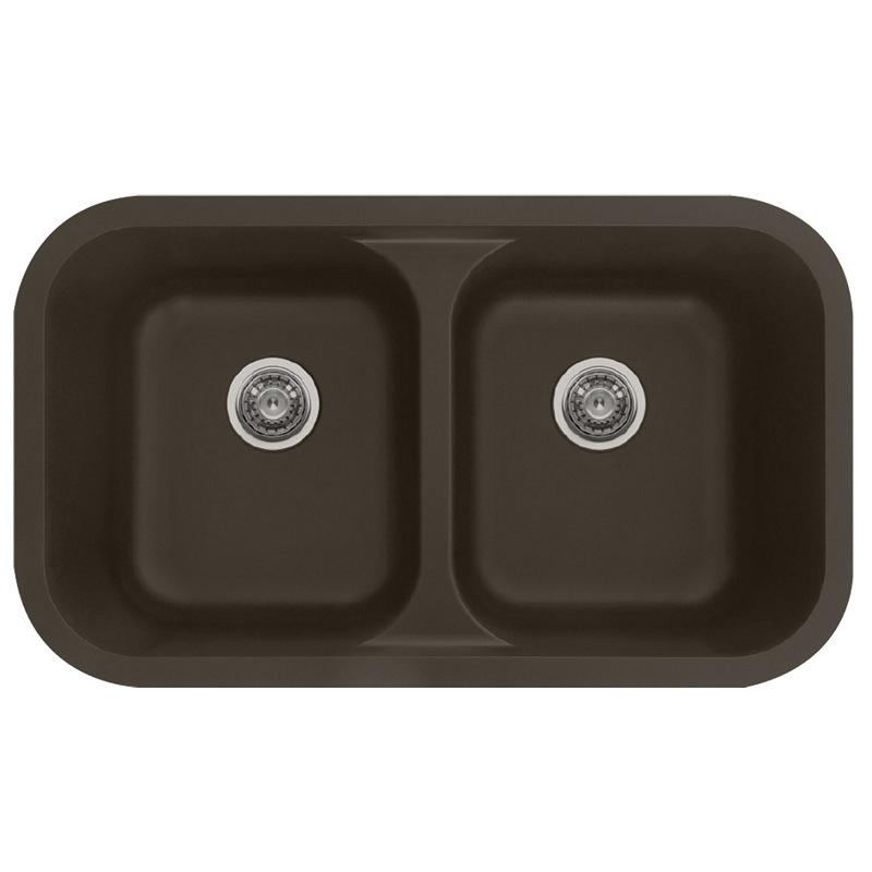 "Karran Q350BR, 32-3/8"" x 19"" Quartz Undermount Kitchen Sink Double Equal Bowls, Brown :: Image 10"