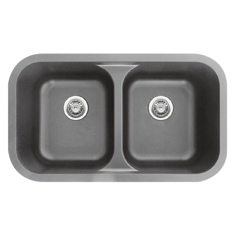 "Karran Q350GR, 32-3/8"" x 19"" Quartz Undermount Kitchen Sink Double Equal Bowls, Grey :: Image 10"
