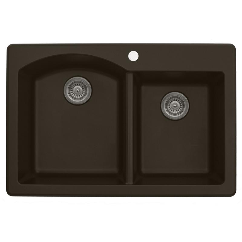 "Karran QT610-BROWN, 33"" x 22"" Quartz Double Sink Bowls Drop-in, Large/Small Bowls, Brown :: Image 10"