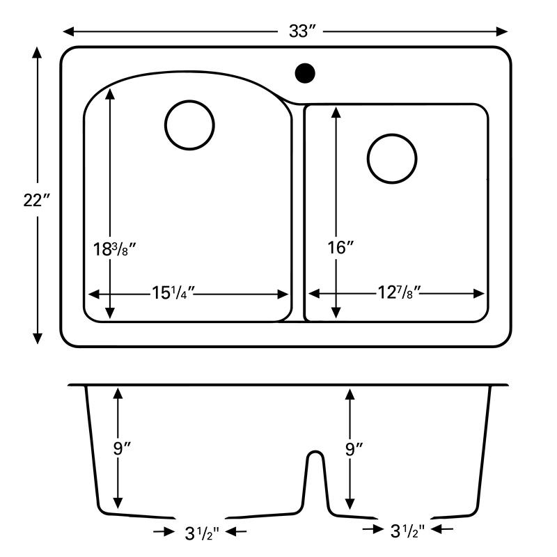 "Karran QT610-BLACK, 33"" x 22"" Quartz Double Sink Bowls Drop-in, Large/Small Bowls, Black :: Image 20"