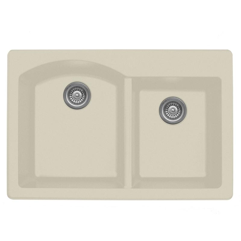 """Karran QT610-BI, 33"""" x 22"""" Quartz Double Sink Bowls Drop-in, Large/Small Bowls, Bisque :: Image 10"""