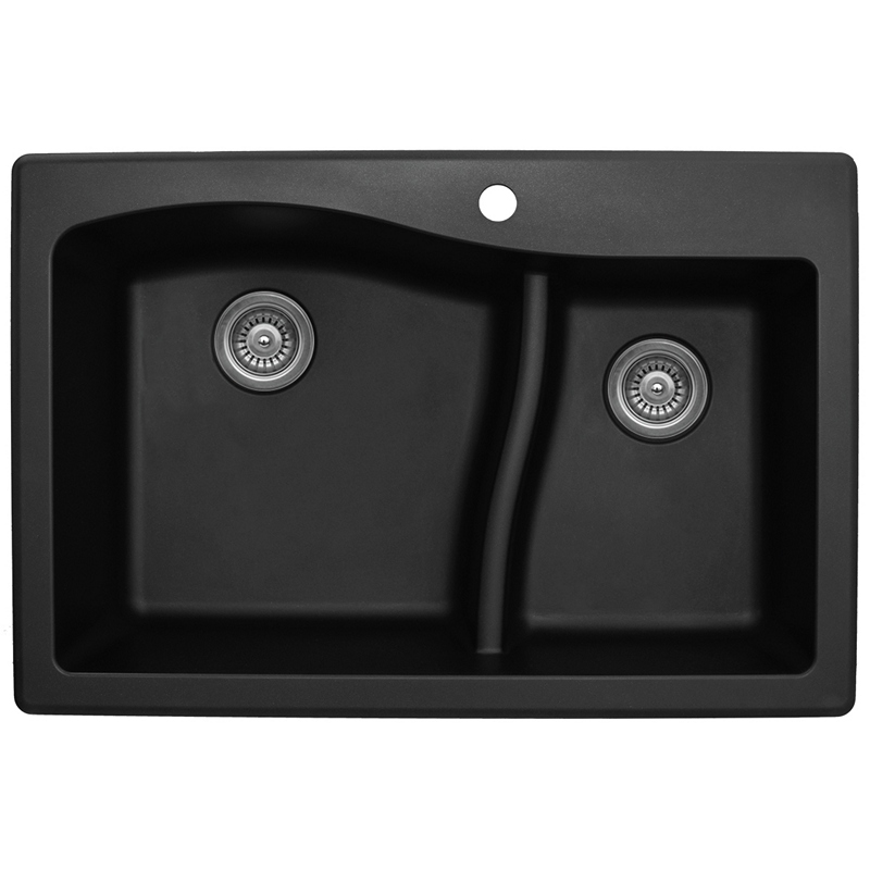 "Karran QT630-BLACK, 33"" x 22"" Quartz Sink Drop-in Style, Large/Small Double Bowls, Black :: Image 10"