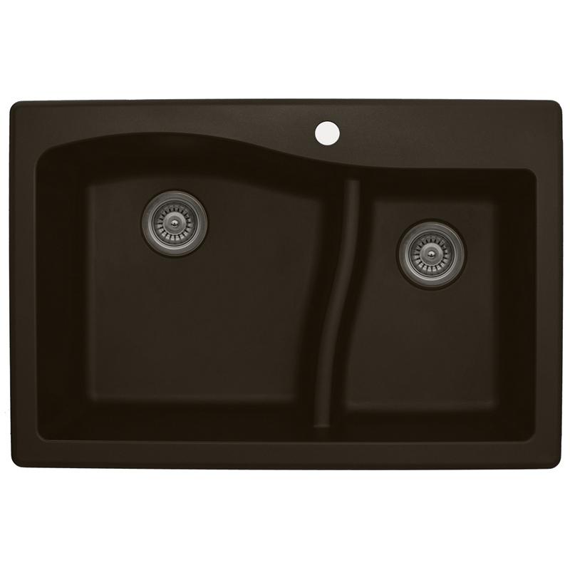 "Karran QT630-BROWN, 33"" x 22"" Quartz Sink Drop-in Style, Large/Small Double Bowls, Brown :: Image 10"