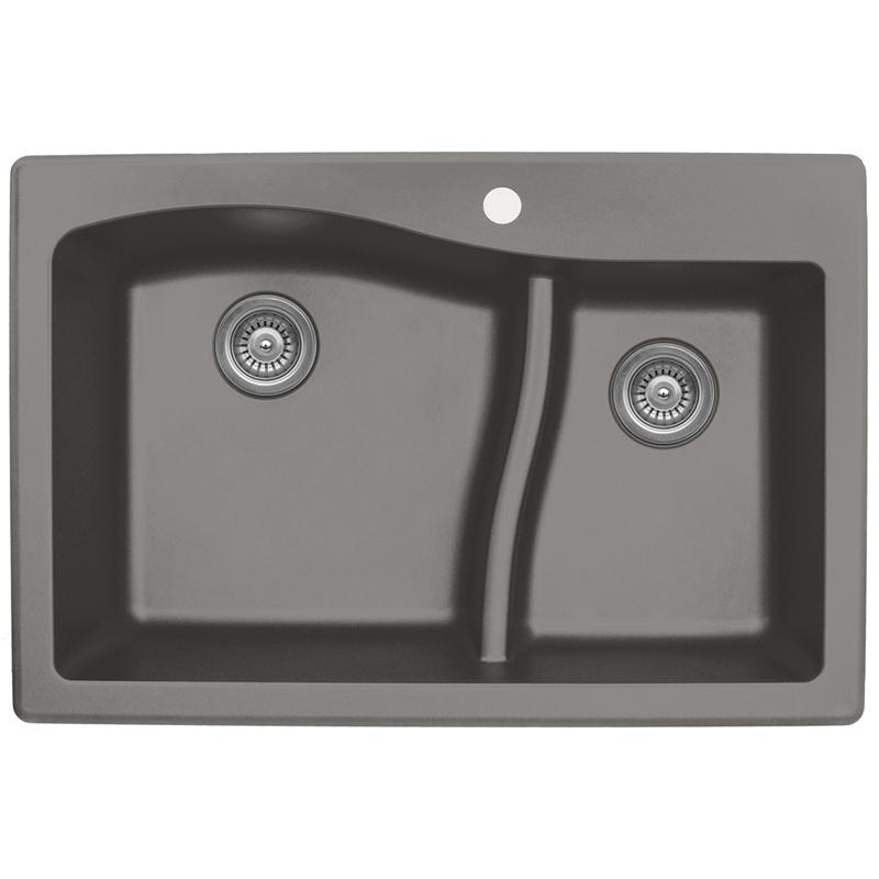 """Karran QT630-CONCRETE, 33"""" x 22"""" Quartz Sink Drop-in Style, Large/Small Double Bowls, Concrete :: Image 10"""