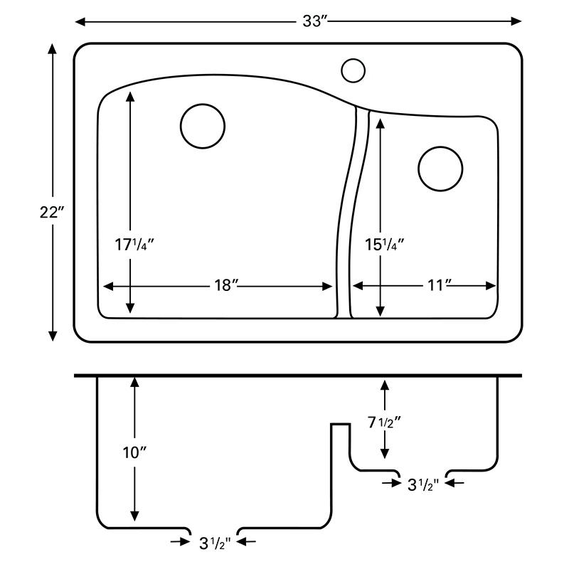 """Karran QT630-CONCRETE, 33"""" x 22"""" Quartz Sink Drop-in Style, Large/Small Double Bowls, Concrete :: Image 20"""