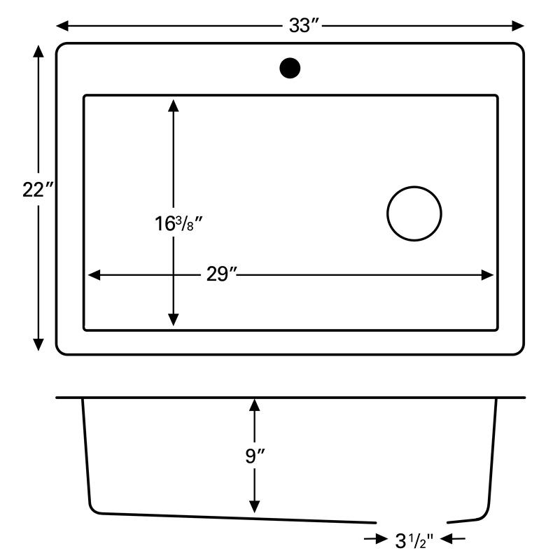 """Karran QT670-CONCRETE, 33"""" x 22"""" Quartz Sink Large Single Bowl Drop-in, Concrete :: Image 20"""