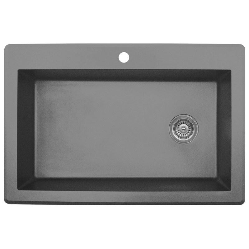 "Karran QT670-GREY, 33"" x 22"" Quartz Sink Large Single Bowl Drop-in, Grey :: Image 10"