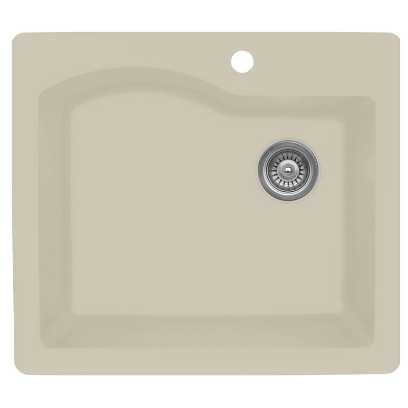 """Karran QT671-BI, 25"""" x 22"""" Quartz Sink Drop-in Style Large Single Bowl, Bisque :: Image 10"""