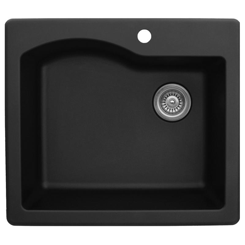 "Karran QT671-BLACK, 25"" x 22"" Quartz Sink Drop-in Style Large Single Bowl, Black :: Image 10"
