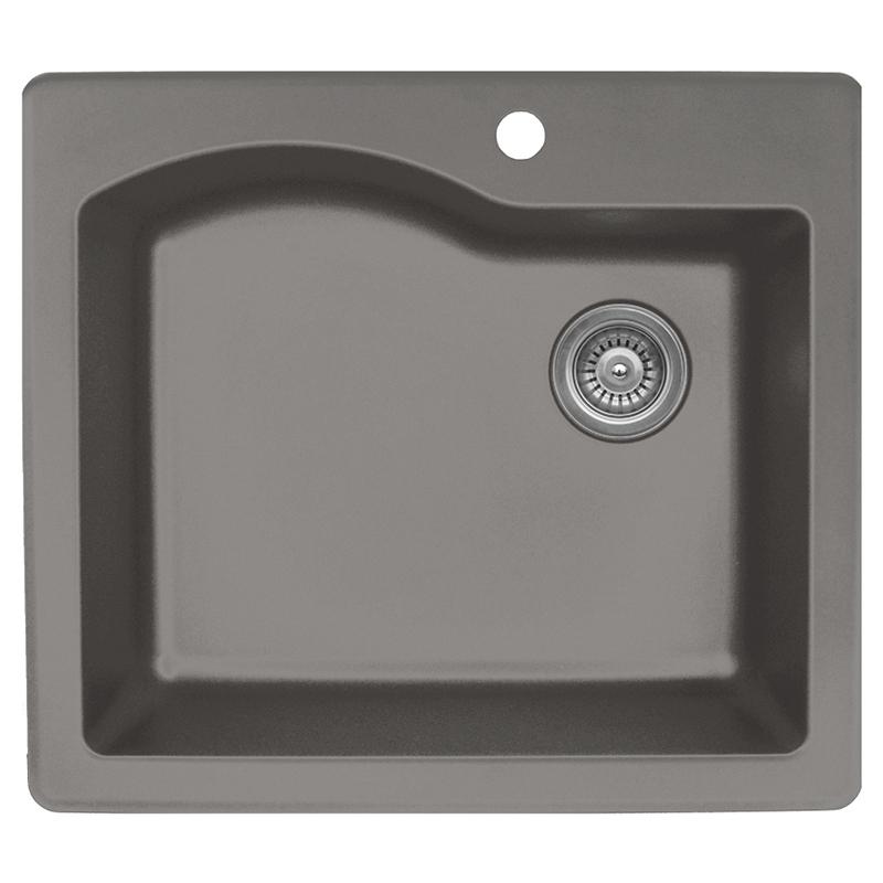 """Karran QT671-CONCRETE, 25"""" x 22"""" Quartz Sink Drop-in Style Large Single Bowl, Concrete :: Image 10"""