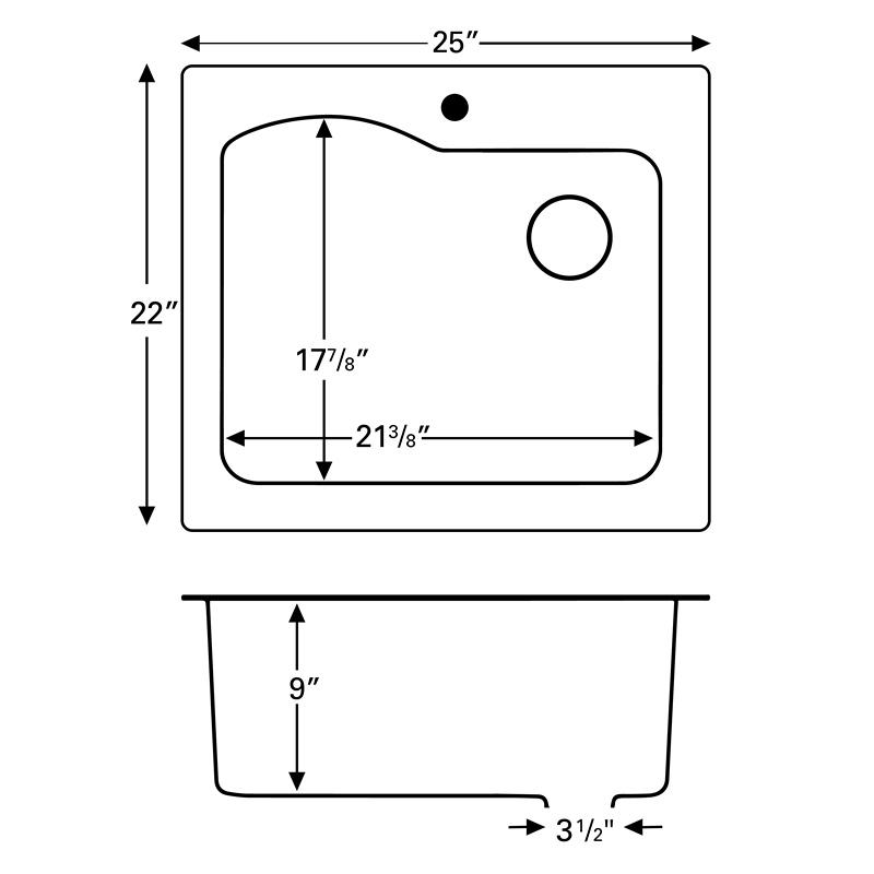 """Karran QT671-CONCRETE, 25"""" x 22"""" Quartz Sink Drop-in Style Large Single Bowl, Concrete :: Image 20"""