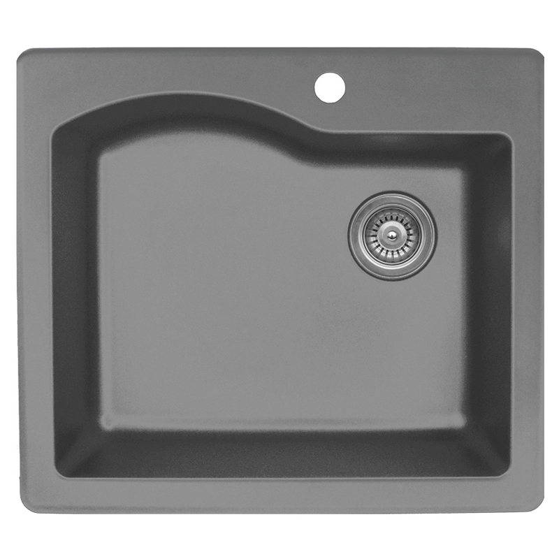 "Karran QT671-GREY, 25"" x 22"" Quartz Sink Drop-in Style Large Single Bowl, Grey :: Image 10"