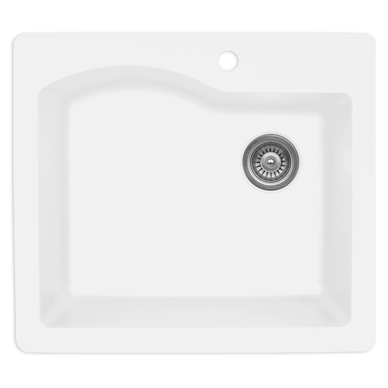 "Karran QT671-WH, 25"" x 22"" Quartz Sink Drop-in Style Large Single Bowl, White :: Image 10"