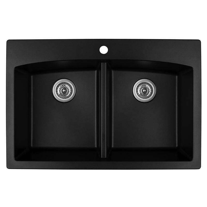 """Karran QT-710 BLACK, 33"""" x 22"""" Quartz Top Mount Kitchen Sink Double Bowl, Black :: Image 10"""